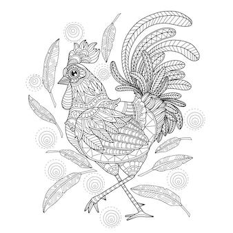 Mano dibuja la ilustración de gallo en estilo zentangle