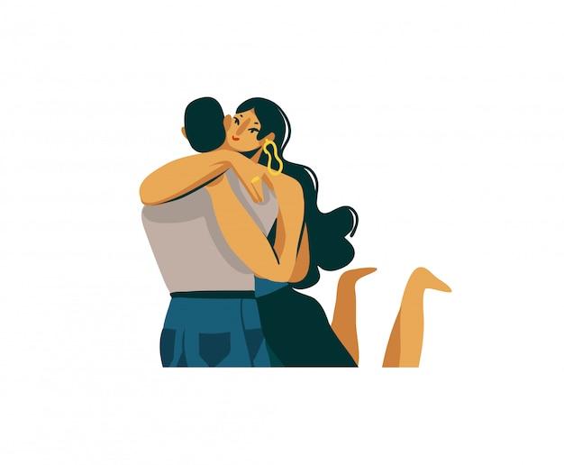 Mano dibuja la ilustración gráfica abstracta del día de san valentín con el chico romántico joven que sostiene a la muchacha hermosa en sus brazos en el fondo blanco.