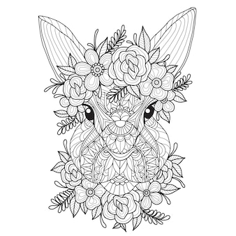 Mano dibuja la ilustración del hermoso conejo.