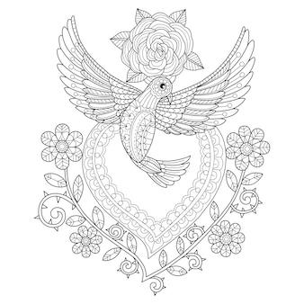 Mano dibuja la ilustración de la paloma en estilo zentangle