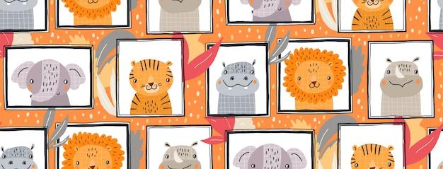 Mano dibuja la ilustración de patrones sin fisuras de animales lindos en marcos. diseño plano de estilo escandinavo para niños.
