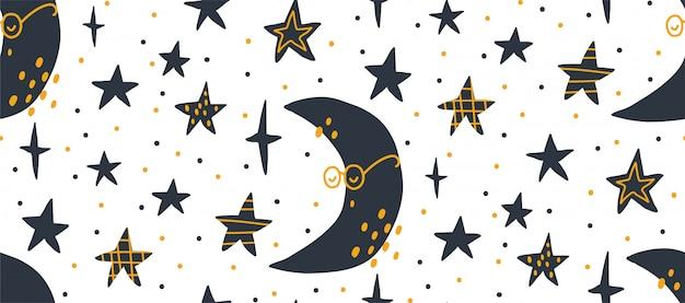 Mano dibuja la ilustración de patrones sin fisuras de vector de un cielo estrellado de noche