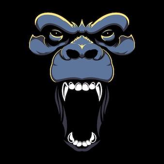Mano dibuja la ilustración de la cara enojada del gorila