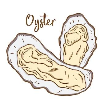 Mano dibuja la ilustración de oyster.