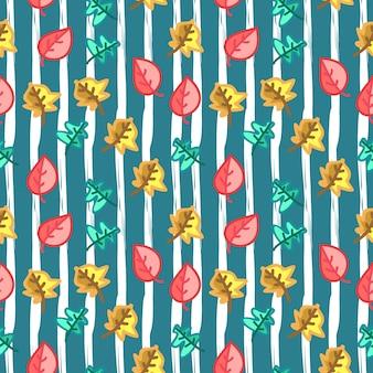 Mano dibuja el patrón de hojas de otoño para la moda del bebé