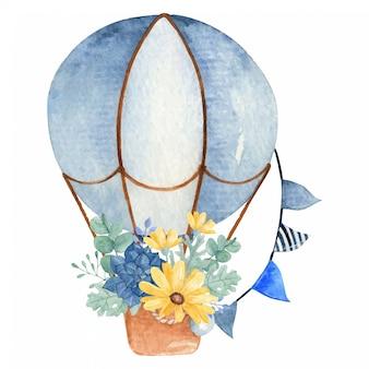 Mano dibujada acuarela globo aerostático y ramo de flores