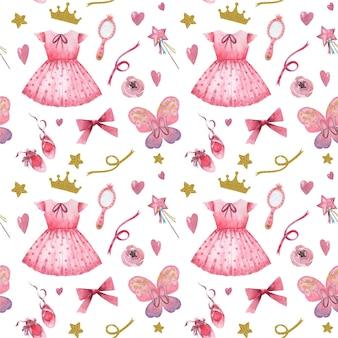 Mano dibujada acuarela de patrones sin fisuras con elementos de princesita rosa