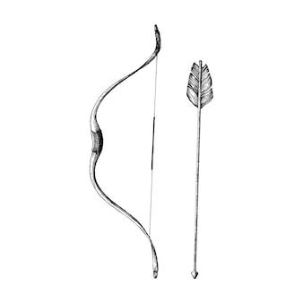 Mano dibujada arco y flecha