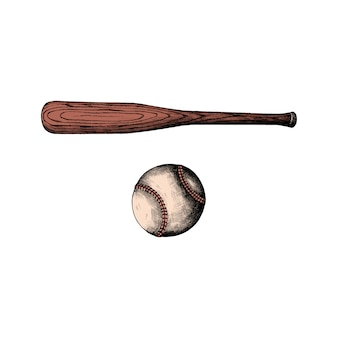 Mano dibujada bate de béisbol y pelota