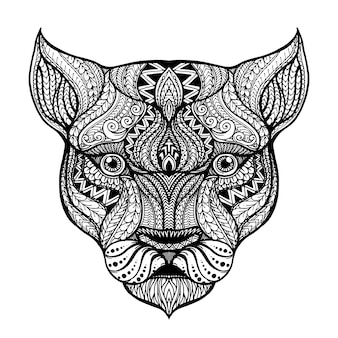 Mano dibujada cabeza del fondo de la leona
