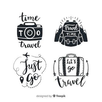 Mano dibujada cita insignias estilo de letras