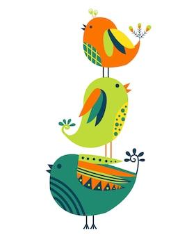 Mano dibujada de coloridas aves aisladas sobre fondo blanco.