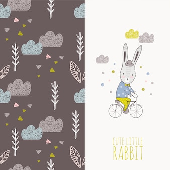 Mano dibujada conejo en tarjeta de bicicleta y patrones sin fisuras