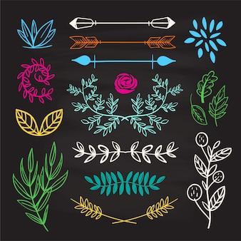 Mano dibujada conjunto de elementos lindos doodle