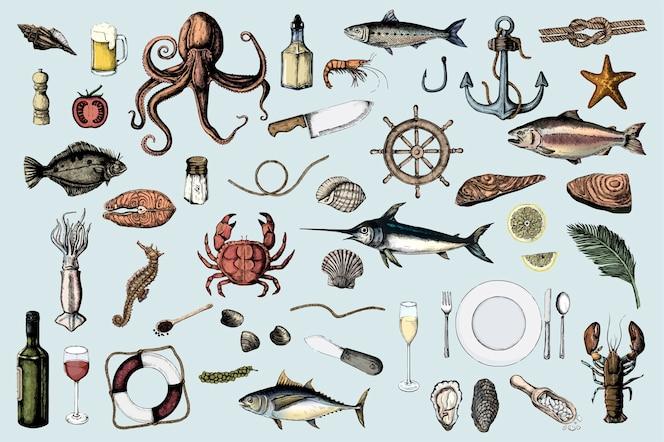 Mano dibujada de concepto de mariscos