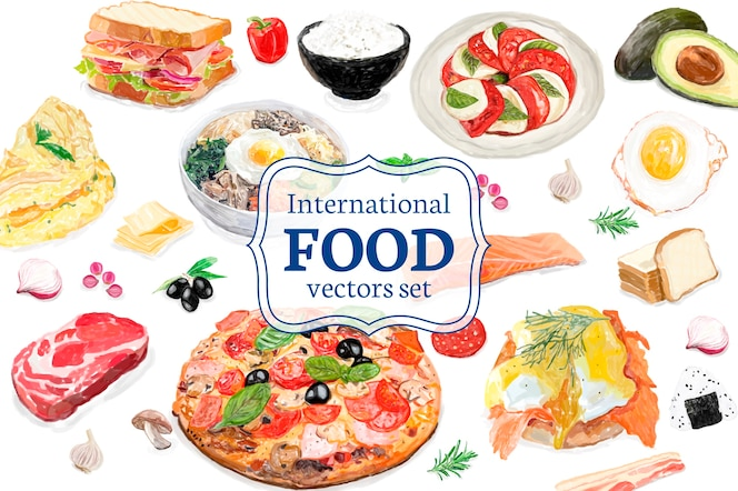 Mano dibujada estilo de acuarela de comida internacional