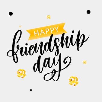 Mano dibujada feliz día de la amistad felicitaciones en el estilo de moda con letras de texto