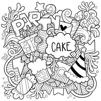 Mano dibujada fiesta doodle feliz cumpleaños adornos