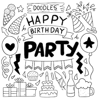 Mano dibujada fiesta doodle feliz cumpleaños dibujos animados