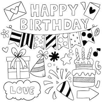 Mano dibujada fiesta doodle feliz cumpleaños