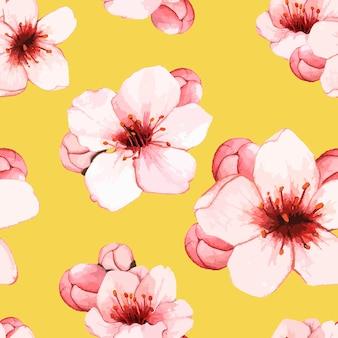 Mano dibujada flor de cerezo aislado