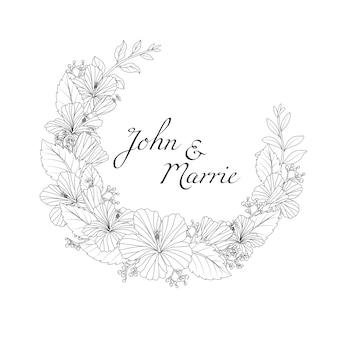 Mano dibujada floral invitación tarjeta de boda con texto de ejemplo