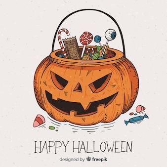 Mano dibujada fondo de calabaza de halloween