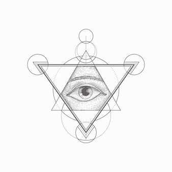 Mano dibujada forma geométrica de ojo vintage