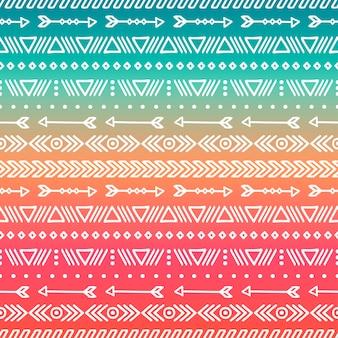 Mano dibujada geométrica étnica tribal de patrones sin fisuras. estilo doodles. boho rayas
