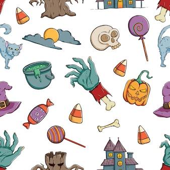 Mano dibujada iconos de patrones sin fisuras de halloween
