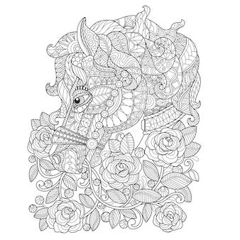 Mano dibujada ilustración de caballo y rosa