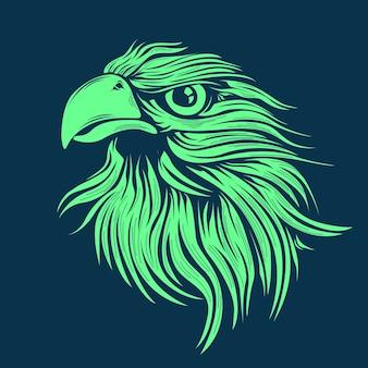 Mano dibujada ilustración de cabeza de águila