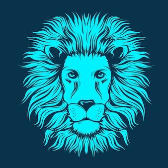Mano dibujada ilustración de cabeza de león