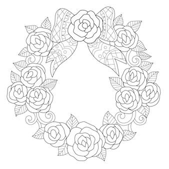 Mano dibujada ilustración de corona de flores