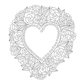Mano dibujada ilustración de rosas y corazón