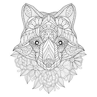 Mano dibujada ilustración de lobo y flor.