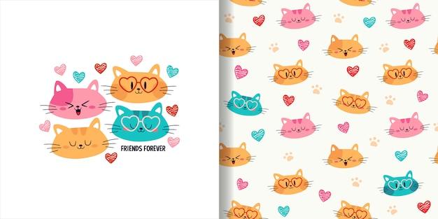Mano dibujada lindo gato cabeza de patrones sin fisuras