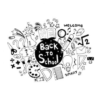 Mano dibujada de nuevo a la escuela garabatos con útiles escolares
