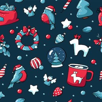 Mano dibujada patrón transparente de navidad en estilo escandinavo