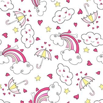 Mano dibujada de patrones sin fisuras con arco iris, nubes, paraguas y corazones.