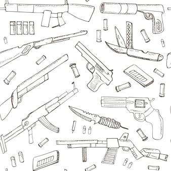 Mano dibujada de patrones sin fisuras con armas.