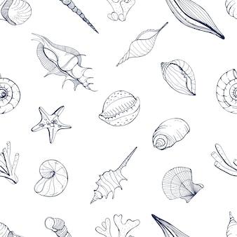 Mano dibujada de patrones sin fisuras con conchas marinas. fondo monocromo