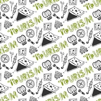 Mano dibujada de patrones sin fisuras con elementos de vacaciones camping. fondo de vacaciones de verano. turismo