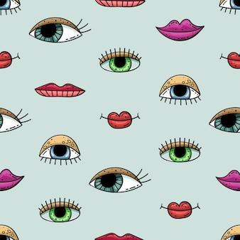Mano dibujada de patrones sin fisuras con garabatos. ojos y labios.