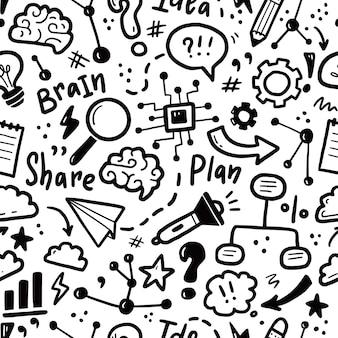 Mano dibujada de patrones sin fisuras de lluvia de ideas, idea, estrategia. estilo de dibujo doodle.