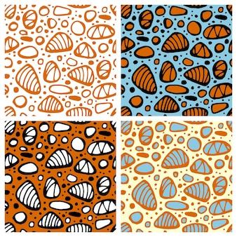 Mano dibujada de patrones sin fisuras con piedras de mar