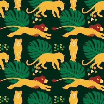 Mano dibujada de patrones sin fisuras planas con leones