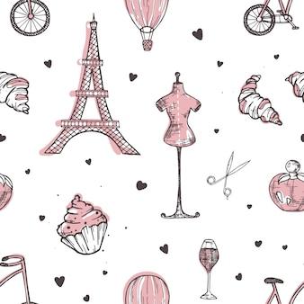 Mano dibujada de patrones sin fisuras con los símbolos de parís y francia
