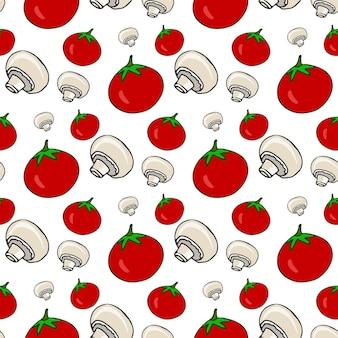Mano dibujada de patrones sin fisuras con tomates y champiñones. vector verduras saludables. ilustración para el menú