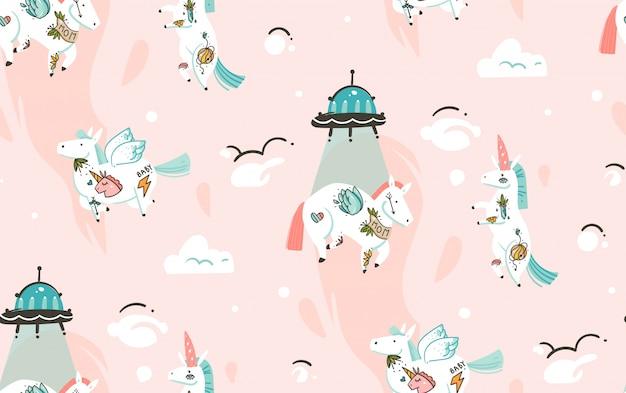 Mano dibujada de patrones sin fisuras con unicornios cosmonauta y nave espacial en cosmos aislado sobre fondo rosa